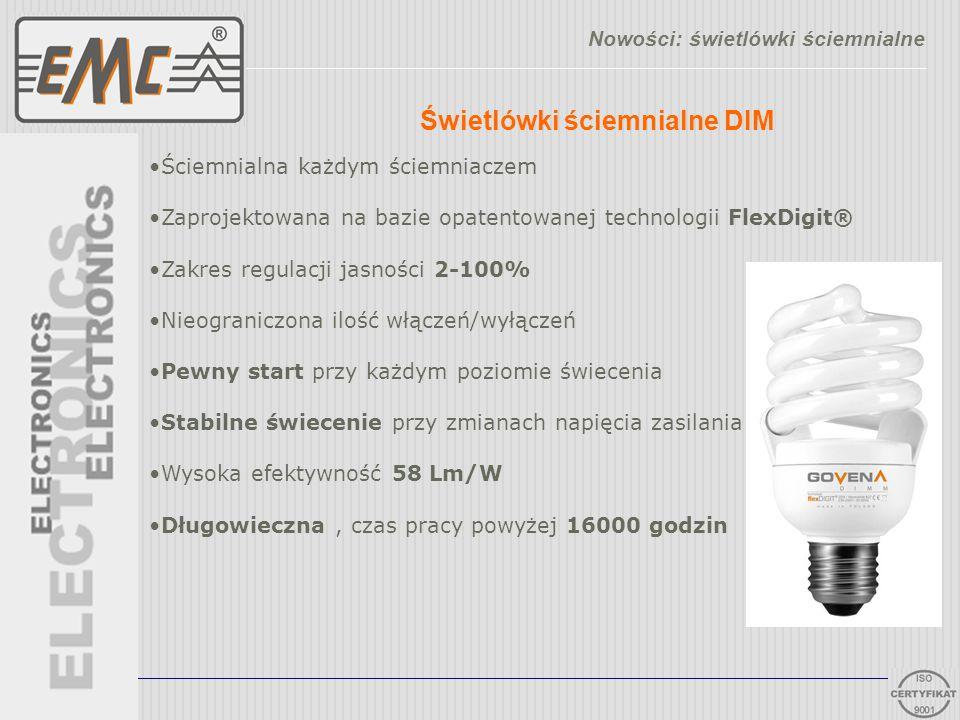Świetlówki ściemnialne DIM Nowości: świetlówki ściemnialne Ściemnialna każdym ściemniaczem Zaprojektowana na bazie opatentowanej technologii FlexDigit