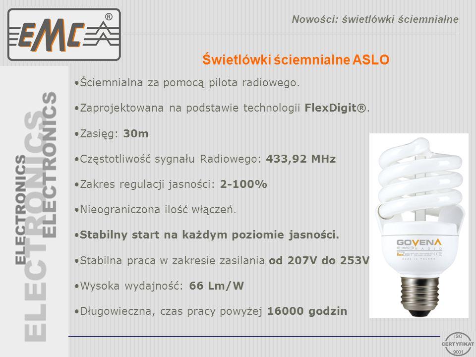 Świetlówki ściemnialne ASLO Nowości: świetlówki ściemnialne Ściemnialna za pomocą pilota radiowego. Zaprojektowana na podstawie technologii FlexDigit®