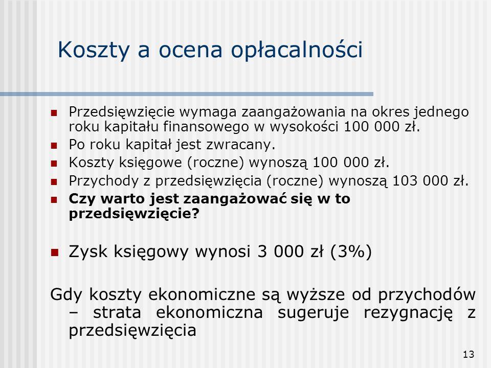 13 Koszty a ocena opłacalności Przedsięwzięcie wymaga zaangażowania na okres jednego roku kapitału finansowego w wysokości 100 000 zł. Po roku kapitał
