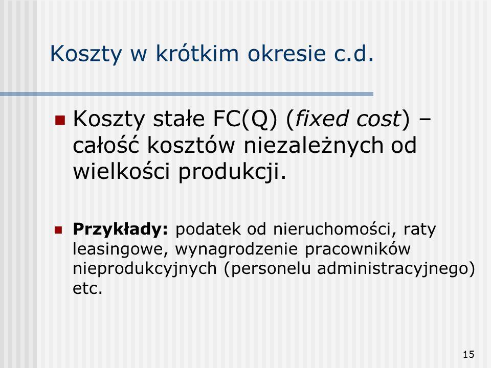 15 Koszty w krótkim okresie c.d. Koszty stałe FC(Q) (fixed cost) – całość kosztów niezależnych od wielkości produkcji. Przykłady: podatek od nieruchom