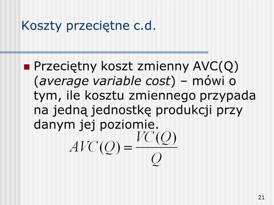 21 Koszty przeciętne c.d. Przeciętny koszt zmienny AVC(Q) (average variable cost) – mówi o tym, ile kosztu zmiennego przypada na jedną jednostkę produ