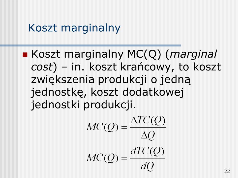 22 Koszt marginalny Koszt marginalny MC(Q) (marginal cost) – in. koszt krańcowy, to koszt zwiększenia produkcji o jedną jednostkę, koszt dodatkowej je