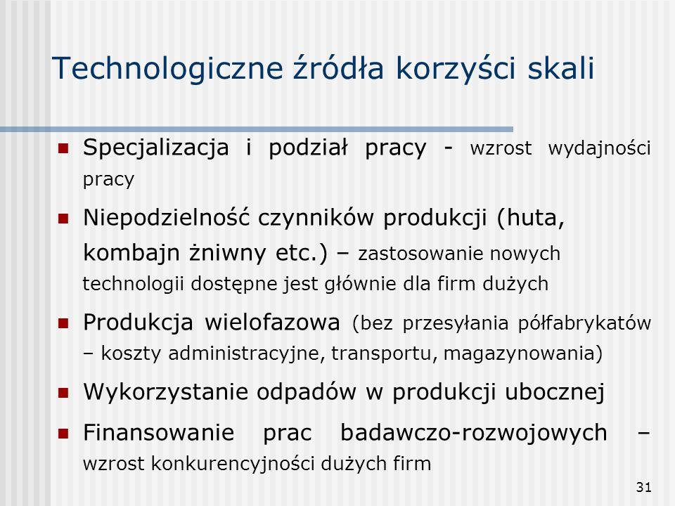 31 Technologiczne źródła korzyści skali Specjalizacja i podział pracy - wzrost wydajności pracy Niepodzielność czynników produkcji (huta, kombajn żniw