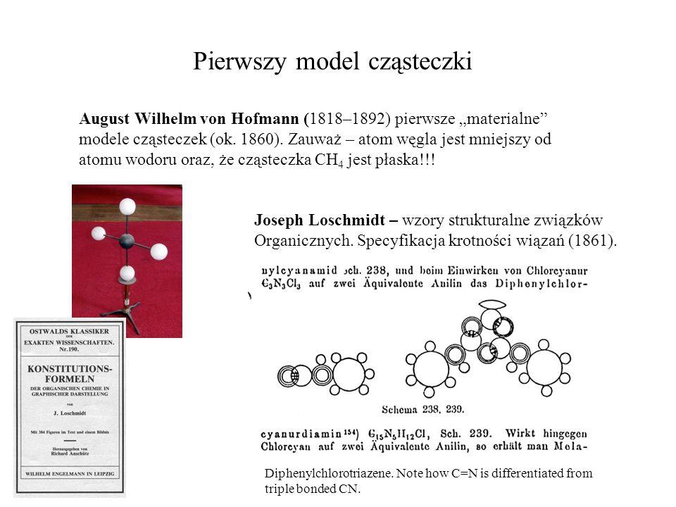 """Pierwszy model cząsteczki August Wilhelm von Hofmann (1818–1892) pierwsze """"materialne"""" modele cząsteczek (ok. 1860). Zauważ – atom węgla jest mniejszy"""