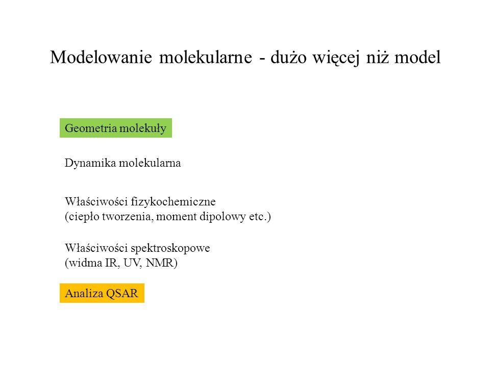 Modelowanie molekularne - dużo więcej niż model Geometria molekuły Dynamika molekularna Właściwości fizykochemiczne (ciepło tworzenia, moment dipolowy