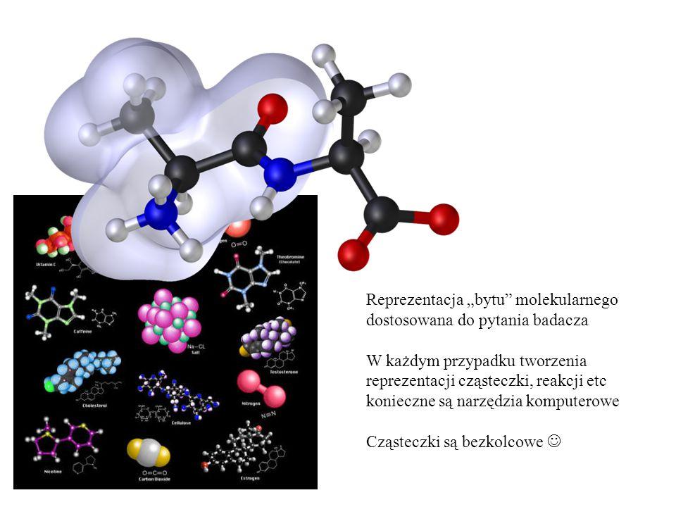 """Reprezentacja """"bytu"""" molekularnego dostosowana do pytania badacza W każdym przypadku tworzenia reprezentacji cząsteczki, reakcji etc konieczne są narz"""