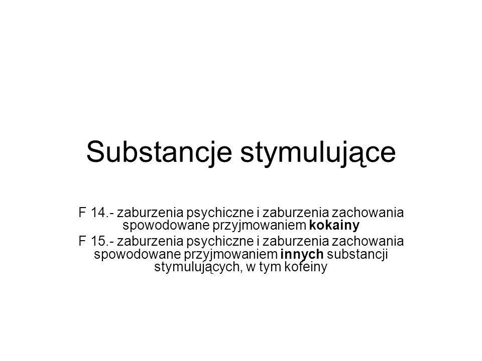 Substancje stymulujące F 14.- zaburzenia psychiczne i zaburzenia zachowania spowodowane przyjmowaniem kokainy F 15.- zaburzenia psychiczne i zaburzenia zachowania spowodowane przyjmowaniem innych substancji stymulujących, w tym kofeiny