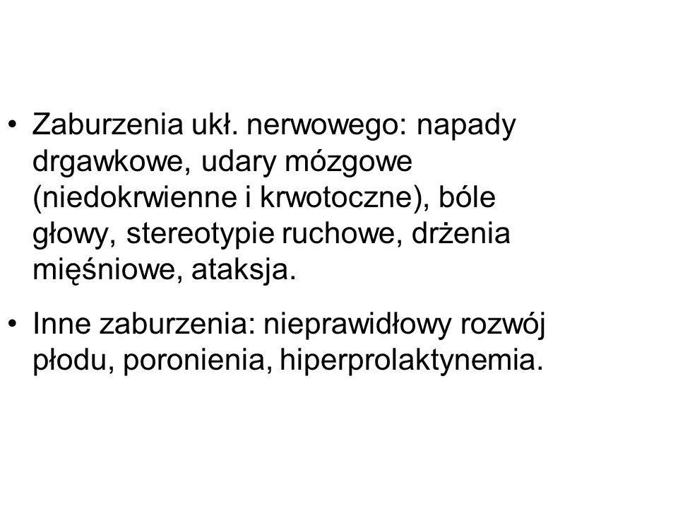 Zaburzenia ukł. nerwowego: napady drgawkowe, udary mózgowe (niedokrwienne i krwotoczne), bóle głowy, stereotypie ruchowe, drżenia mięśniowe, ataksja.
