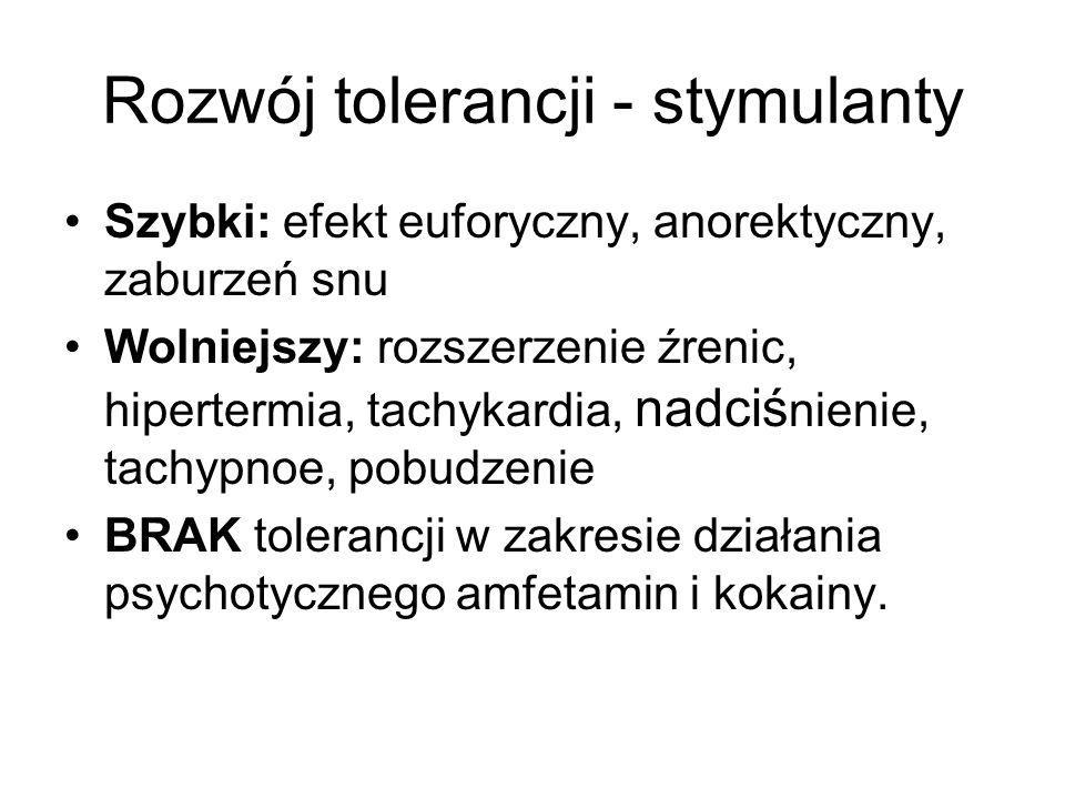 Rozwój tolerancji - stymulanty Szybki: efekt euforyczny, anorektyczny, zaburzeń snu Wolniejszy: rozszerzenie źrenic, hipertermia, tachykardia, nadciś