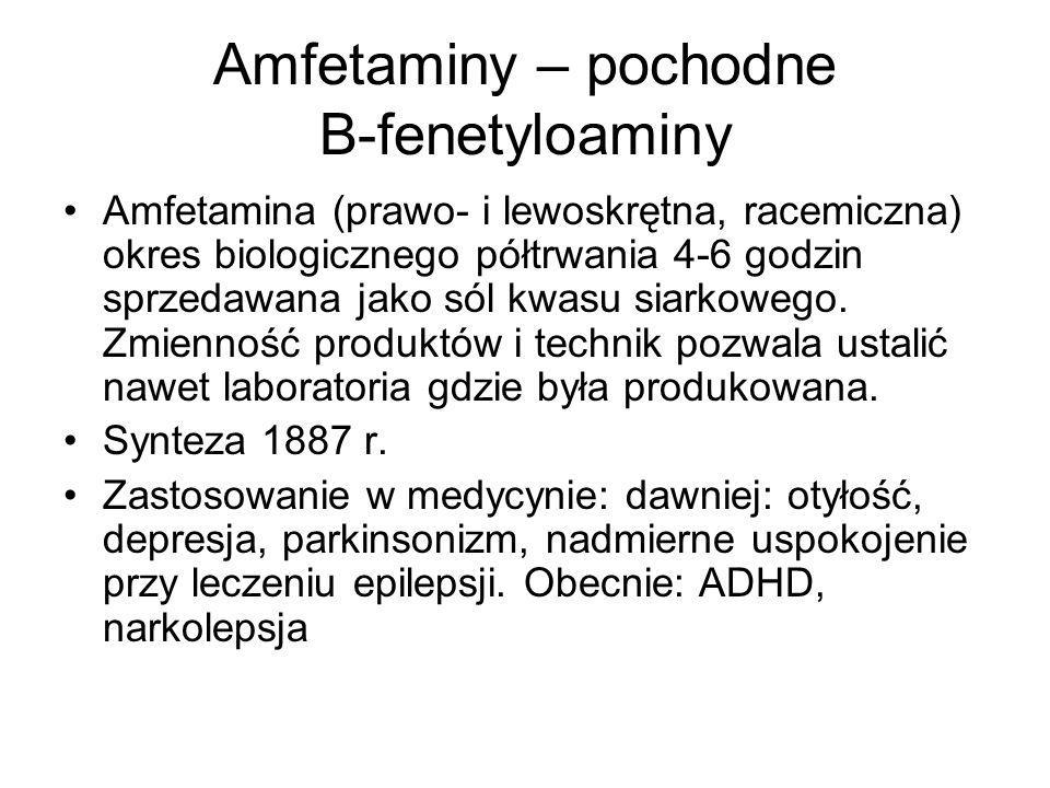 Amfetaminy – pochodne B-fenetyloaminy Amfetamina (prawo- i lewoskrętna, racemiczna) okres biologicznego półtrwania 4-6 godzin sprzedawana jako sól kwasu siarkowego.