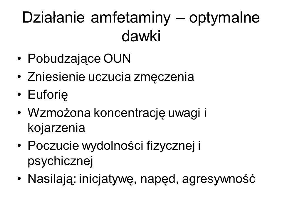 Działanie amfetaminy – optymalne dawki Pobudzające OUN Zniesienie uczucia zmęczenia Euforię Wzmożona koncentrację uwagi i kojarzenia Poczucie wydolności fizycznej i psychicznej Nasilają: inicjatywę, napęd, agresywność