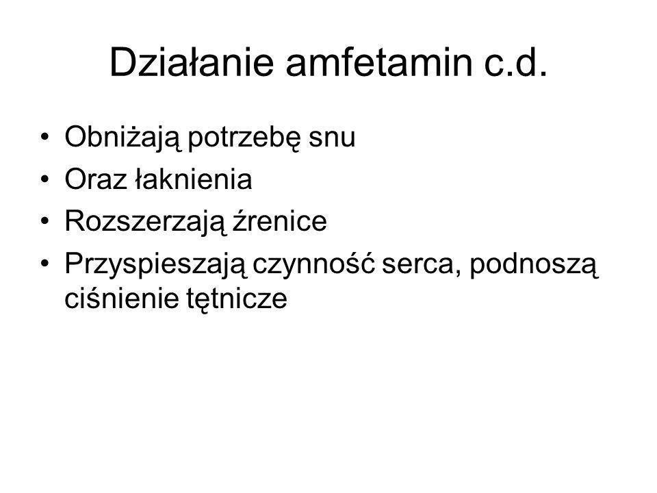 Działanie amfetamin c.d. Obniżają potrzebę snu Oraz łaknienia Rozszerzają źrenice Przyspieszają czynność serca, podnoszą ciśnienie tętnicze