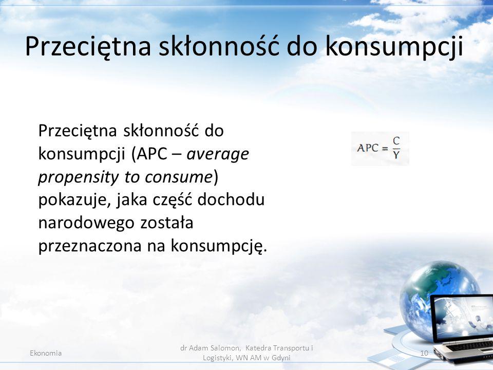 Przeciętna skłonność do konsumpcji Ekonomia dr Adam Salomon, Katedra Transportu i Logistyki, WN AM w Gdyni 10 Przeciętna skłonność do konsumpcji (APC