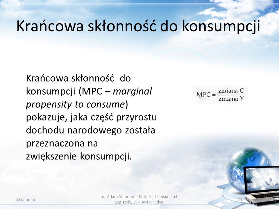 Krańcowa skłonność do konsumpcji Ekonomia dr Adam Salomon, Katedra Transportu i Logistyki, WN AM w Gdyni 11 Krańcowa skłonność do konsumpcji (MPC – ma