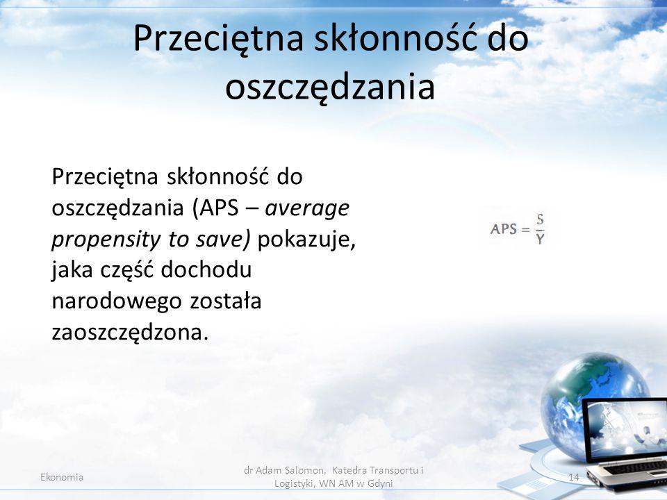 Przeciętna skłonność do oszczędzania Ekonomia dr Adam Salomon, Katedra Transportu i Logistyki, WN AM w Gdyni 14 Przeciętna skłonność do oszczędzania (