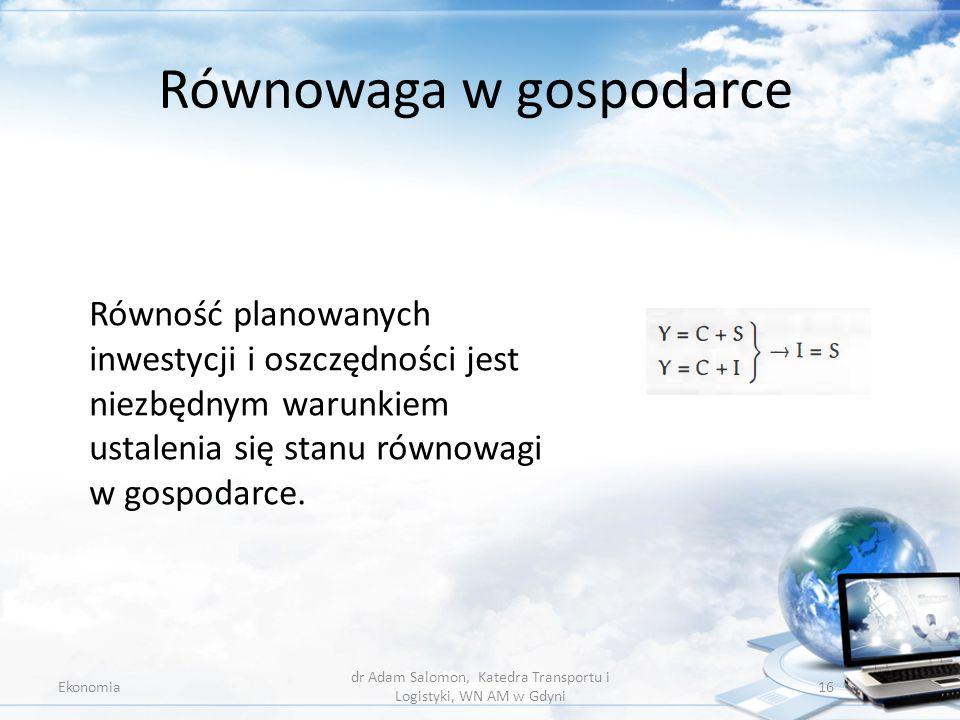 Równowaga w gospodarce Ekonomia dr Adam Salomon, Katedra Transportu i Logistyki, WN AM w Gdyni 16 Równość planowanych inwestycji i oszczędności jest n