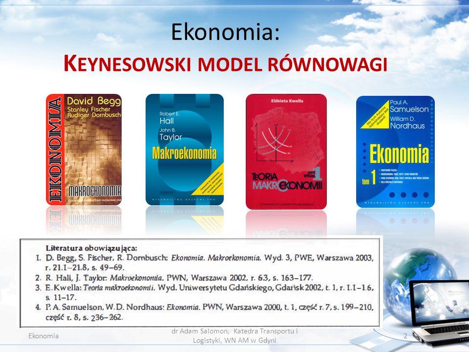 Ekonomia – program wykładu 07 Ekonomia dr Adam Salomon, Katedra Transportu i Logistyki, WN AM w Gdyni 3 K EYNESOWSKI MODEL RÓWNOWAGI.