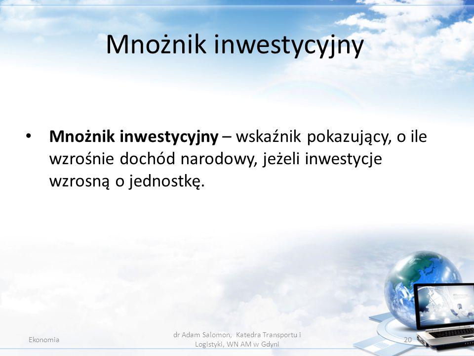 Mnożnik inwestycyjny Ekonomia dr Adam Salomon, Katedra Transportu i Logistyki, WN AM w Gdyni 20 Mnożnik inwestycyjny – wskaźnik pokazujący, o ile wzro