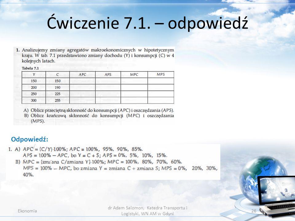 Ćwiczenie 7.1. – odpowiedź Ekonomia dr Adam Salomon, Katedra Transportu i Logistyki, WN AM w Gdyni 26 Odpowiedź: