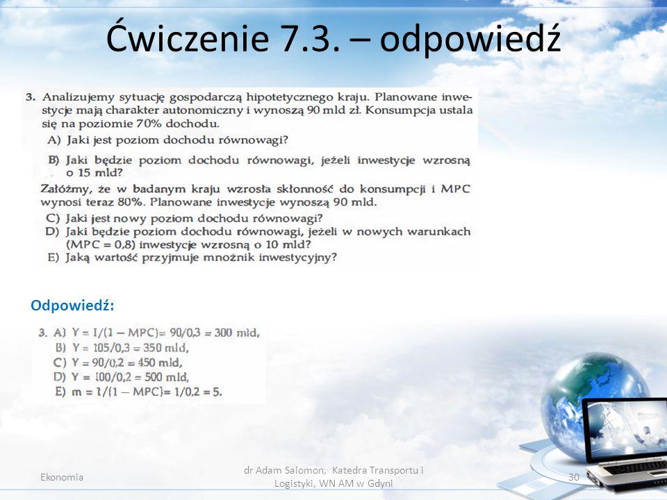 Ćwiczenie 7.3. – odpowiedź Ekonomia dr Adam Salomon, Katedra Transportu i Logistyki, WN AM w Gdyni 30 Odpowiedź: