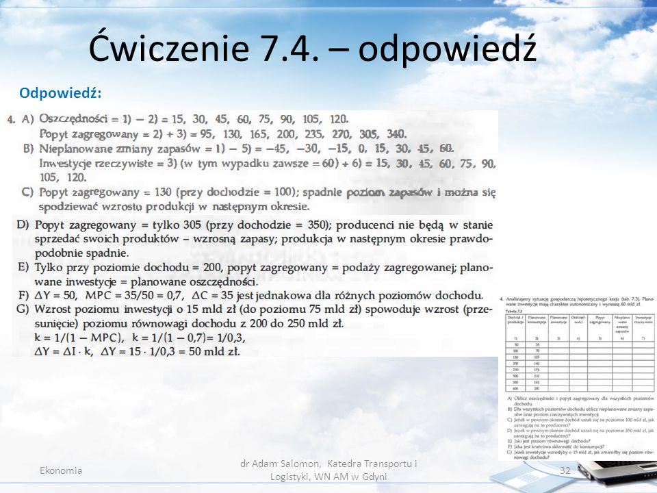 Ćwiczenie 7.4. – odpowiedź Ekonomia dr Adam Salomon, Katedra Transportu i Logistyki, WN AM w Gdyni 32 Odpowiedź: