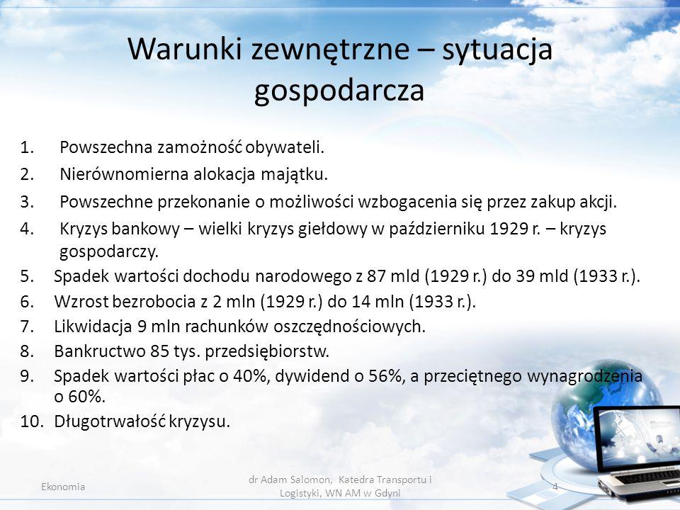 Ćwiczenie 7.1. Ekonomia dr Adam Salomon, Katedra Transportu i Logistyki, WN AM w Gdyni 25
