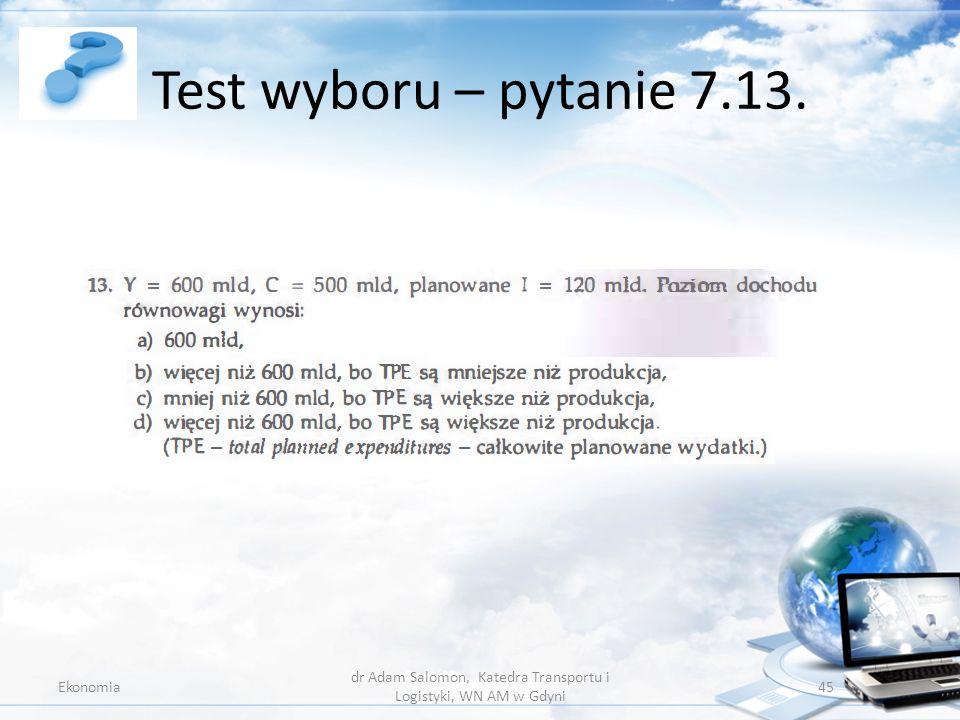 Test wyboru – pytanie 7.13. Ekonomia dr Adam Salomon, Katedra Transportu i Logistyki, WN AM w Gdyni 45