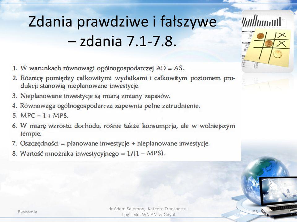 Zdania prawdziwe i fałszywe – zdania 7.1-7.8. Ekonomia dr Adam Salomon, Katedra Transportu i Logistyki, WN AM w Gdyni 53
