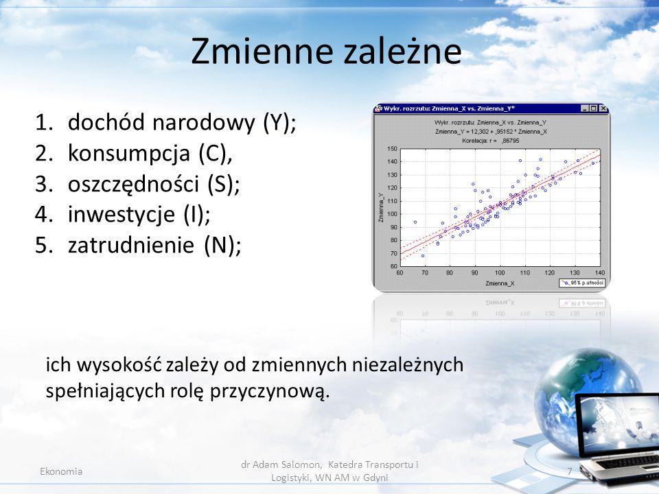 Zmienne zależne Ekonomia dr Adam Salomon, Katedra Transportu i Logistyki, WN AM w Gdyni 7 1.dochód narodowy (Y); 2.konsumpcja (C), 3.oszczędności (S);
