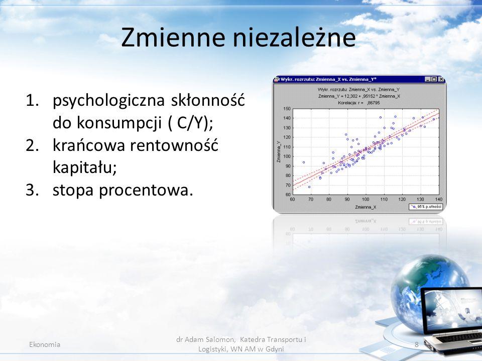 Zmienne niezależne Ekonomia dr Adam Salomon, Katedra Transportu i Logistyki, WN AM w Gdyni 8 1.psychologiczna skłonność do konsumpcji ( C/Y); 2.krańco