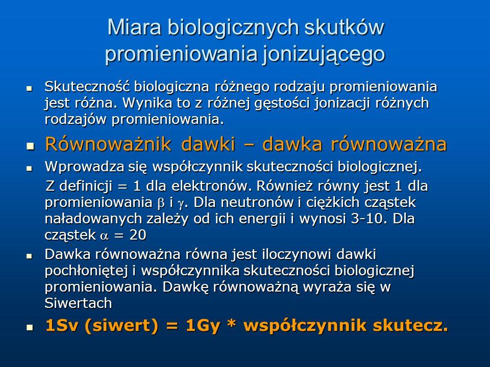 Miara biologicznych skutków promieniowania jonizującego Skuteczność biologiczna różnego rodzaju promieniowania jest różna. Wynika to z różnej gęstości