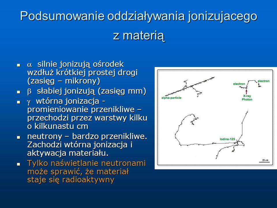 Podsumowanie oddziaływania jonizujacego z materią  silnie jonizują ośrodek wzdłuż krótkiej prostej drogi (zasięg – mikrony)  silnie jonizują ośrodek wzdłuż krótkiej prostej drogi (zasięg – mikrony)  słabiej jonizują (zasięg mm)  słabiej jonizują (zasięg mm)  wtórna jonizacja - promieniowanie przenikliwe – przechodzi przez warstwy kilku o kilkunastu cm  wtórna jonizacja - promieniowanie przenikliwe – przechodzi przez warstwy kilku o kilkunastu cm neutrony – bardzo przenikliwe.