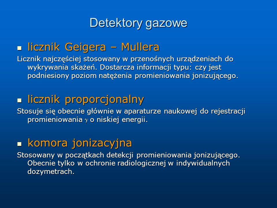 Detektory gazowe licznik Geigera – Mullera licznik Geigera – Mullera Licznik najczęściej stosowany w przenośnych urządzeniach do wykrywania skażeń. Do