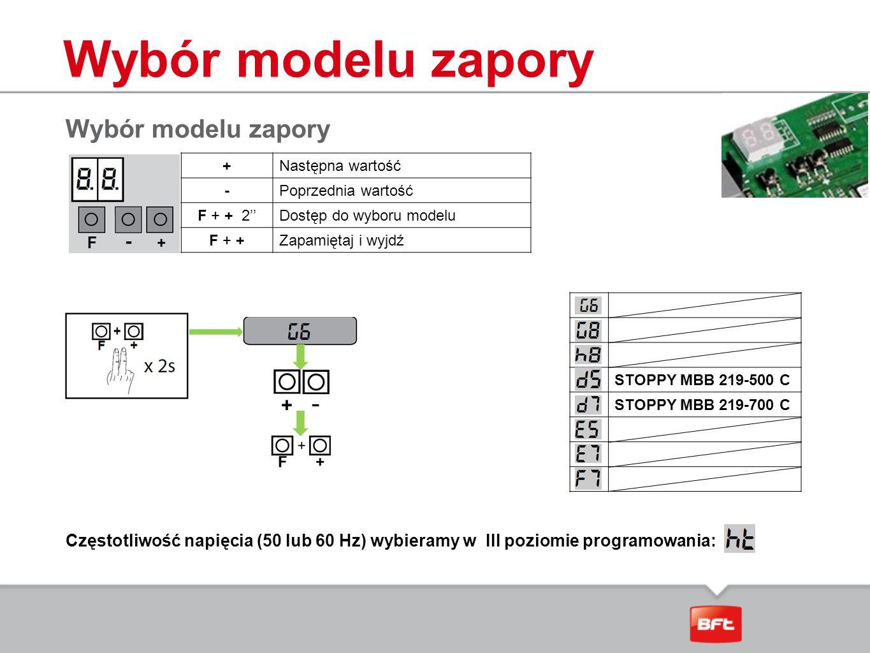 Wybór modelu zapory +Następna wartość -Poprzednia wartość F + + 2''Dostęp do wyboru modelu F + +Zapamiętaj i wyjdź Częstotliwość napięcia (50 lub 60 H