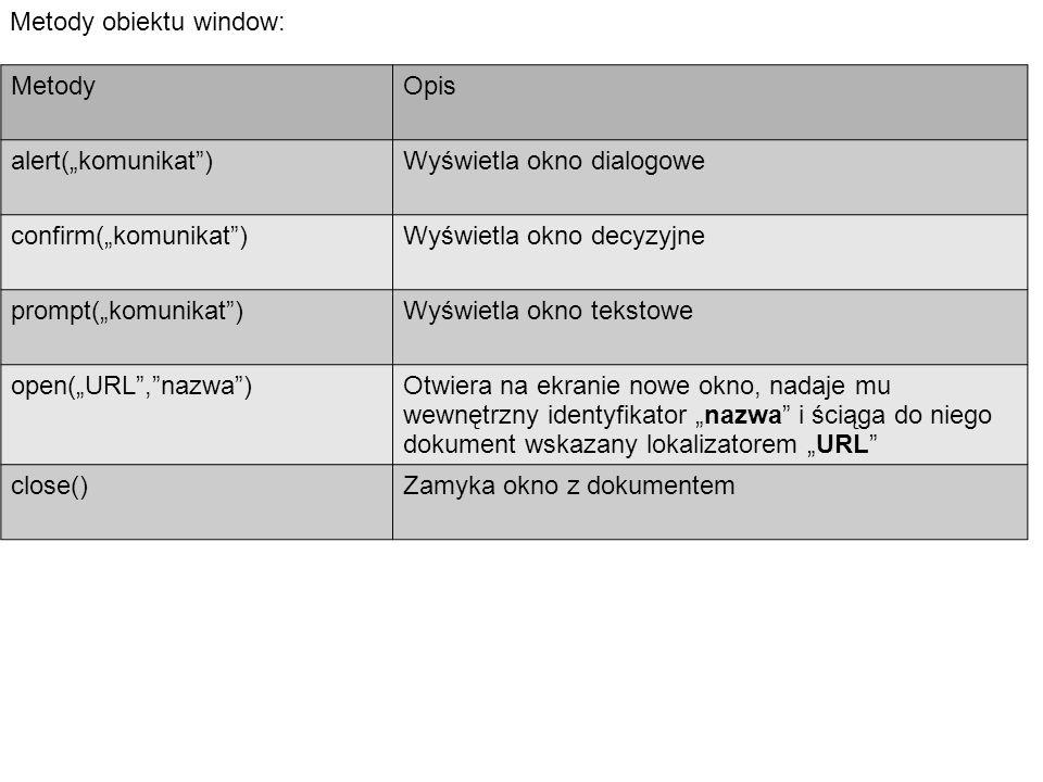 """Metody obiektu window: MetodyOpis alert(""""komunikat )Wyświetla okno dialogowe confirm(""""komunikat )Wyświetla okno decyzyjne prompt(""""komunikat )Wyświetla okno tekstowe open(""""URL , nazwa )Otwiera na ekranie nowe okno, nadaje mu wewnętrzny identyfikator """"nazwa i ściąga do niego dokument wskazany lokalizatorem """"URL close()Zamyka okno z dokumentem"""