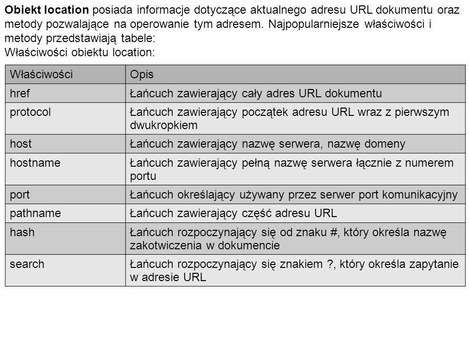 Obiekt location posiada informacje dotyczące aktualnego adresu URL dokumentu oraz metody pozwalające na operowanie tym adresem.