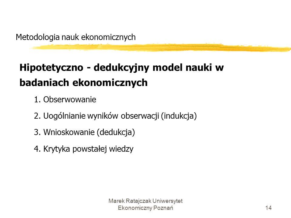 Marek Ratajczak Uniwersytet Ekonomiczny Poznań13 Metodologia nauk ekonomicznych Metoda dedukcji i indukcji w naukach społecznych: Metoda dedukcji: 1.
