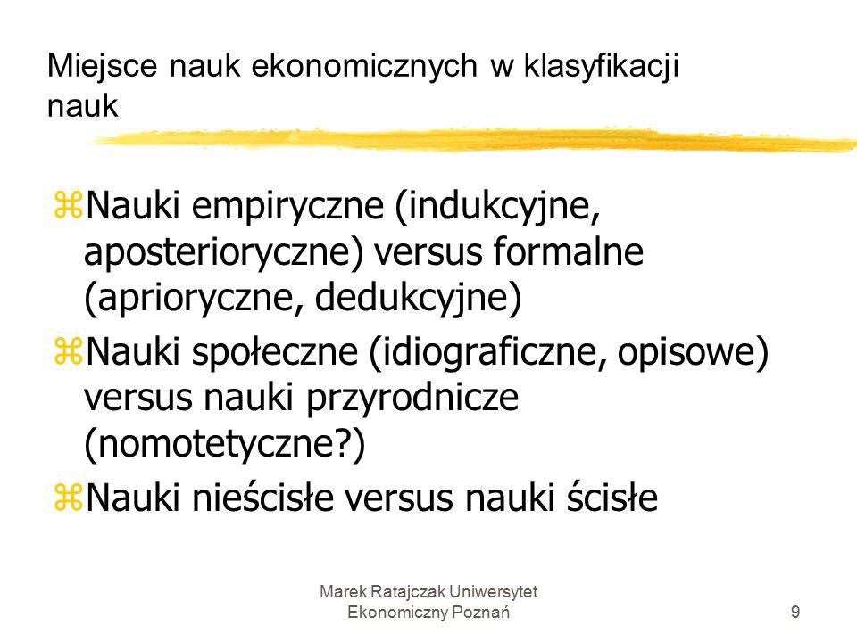 Marek Ratajczak Uniwersytet Ekonomiczny Poznań19 Metodologia nauk ekonomicznych Główne współczesne stanowiska metodologiczne: 4.