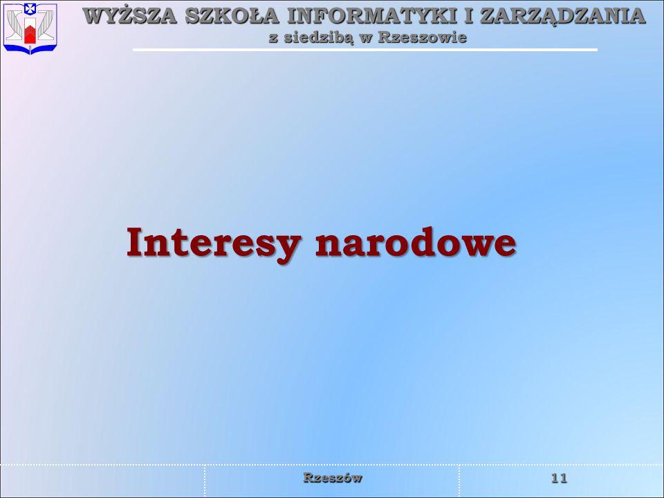 WYŻSZA SZKOŁA INFORMATYKI I ZARZĄDZANIA z siedzibą w Rzeszowie 11 Rzeszów Interesy narodowe
