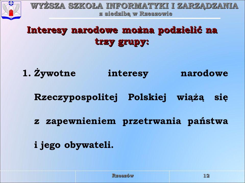 WYŻSZA SZKOŁA INFORMATYKI I ZARZĄDZANIA z siedzibą w Rzeszowie 12 Rzeszów 1.Żywotne interesy narodowe Rzeczypospolitej Polskiej wiążą się z zapewnieni
