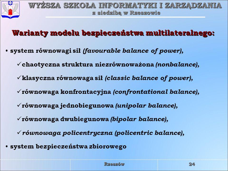WYŻSZA SZKOŁA INFORMATYKI I ZARZĄDZANIA z siedzibą w Rzeszowie 24 Rzeszów Warianty modelu bezpieczeństwa multilateralnego: system równowagi sił (favou