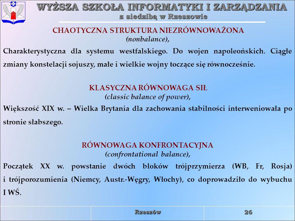 WYŻSZA SZKOŁA INFORMATYKI I ZARZĄDZANIA z siedzibą w Rzeszowie 26 Rzeszów CHAOTYCZNA STRUKTURA NIEZRÓWNOWAŻONA (nonbalance), Charakterystyczna dla sys