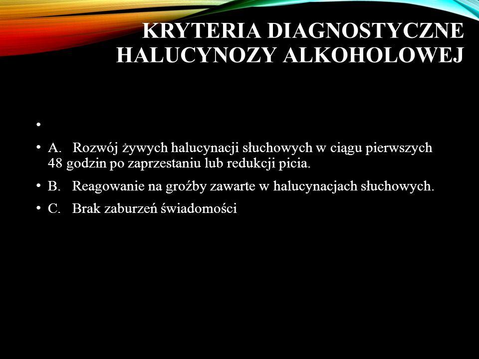 KRYTERIA DIAGNOSTYCZNE HALUCYNOZY ALKOHOLOWEJ A.