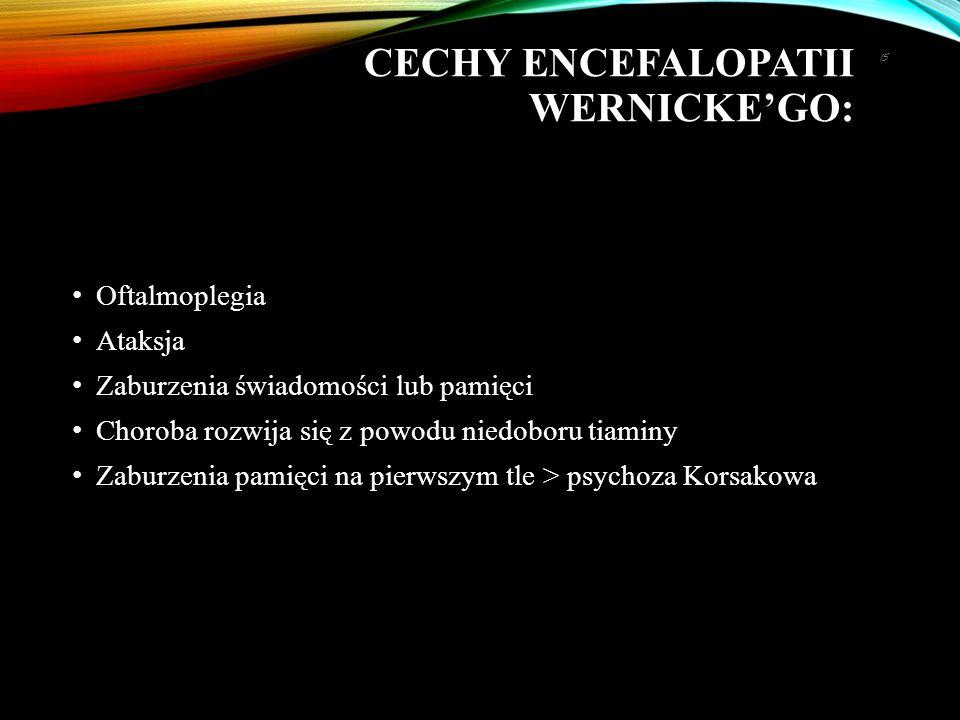 CECHY ENCEFALOPATII WERNICKE'GO: Oftalmoplegia Ataksja Zaburzenia świadomości lub pamięci Choroba rozwija się z powodu niedoboru tiaminy Zaburzenia pa