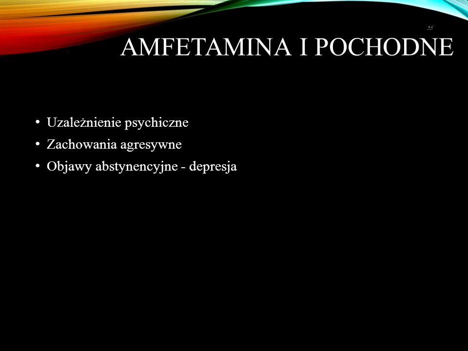 AMFETAMINA I POCHODNE Uzależnienie psychiczne Zachowania agresywne Objawy abstynencyjne - depresja 35