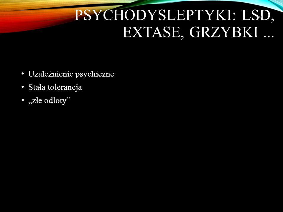 """PSYCHODYSLEPTYKI: LSD, EXTASE, GRZYBKI... Uzależnienie psychiczne Stała tolerancja """"złe odloty"""" 38"""