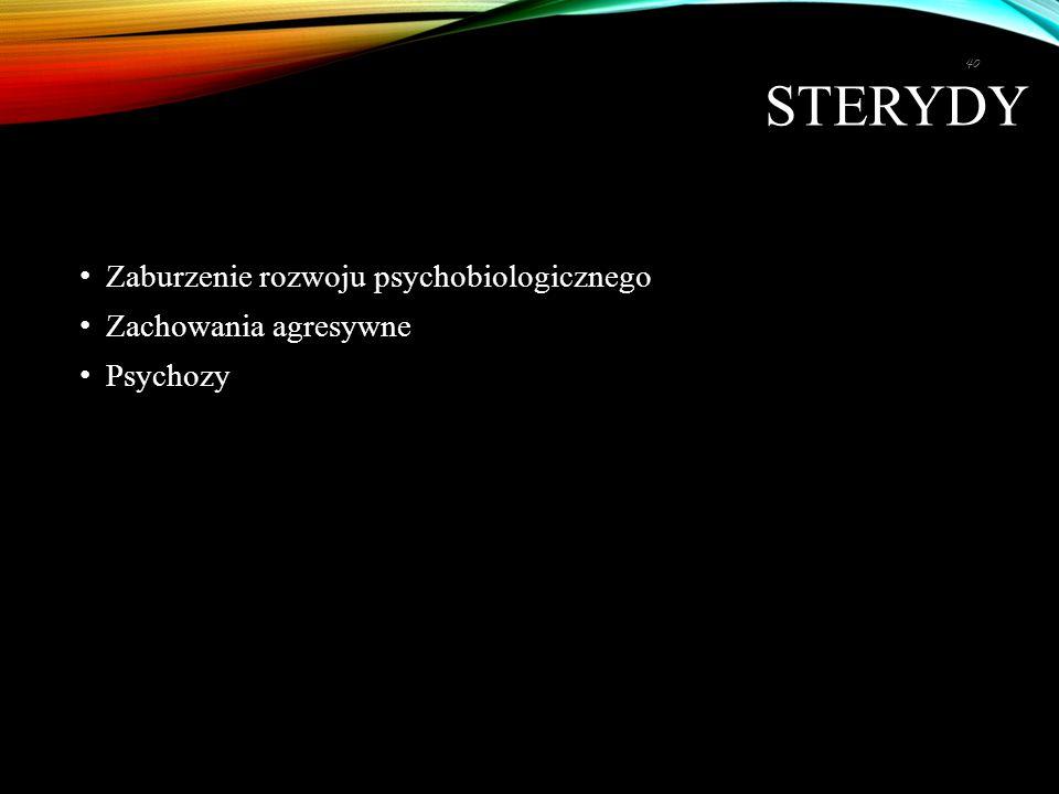 STERYDY Zaburzenie rozwoju psychobiologicznego Zachowania agresywne Psychozy 40