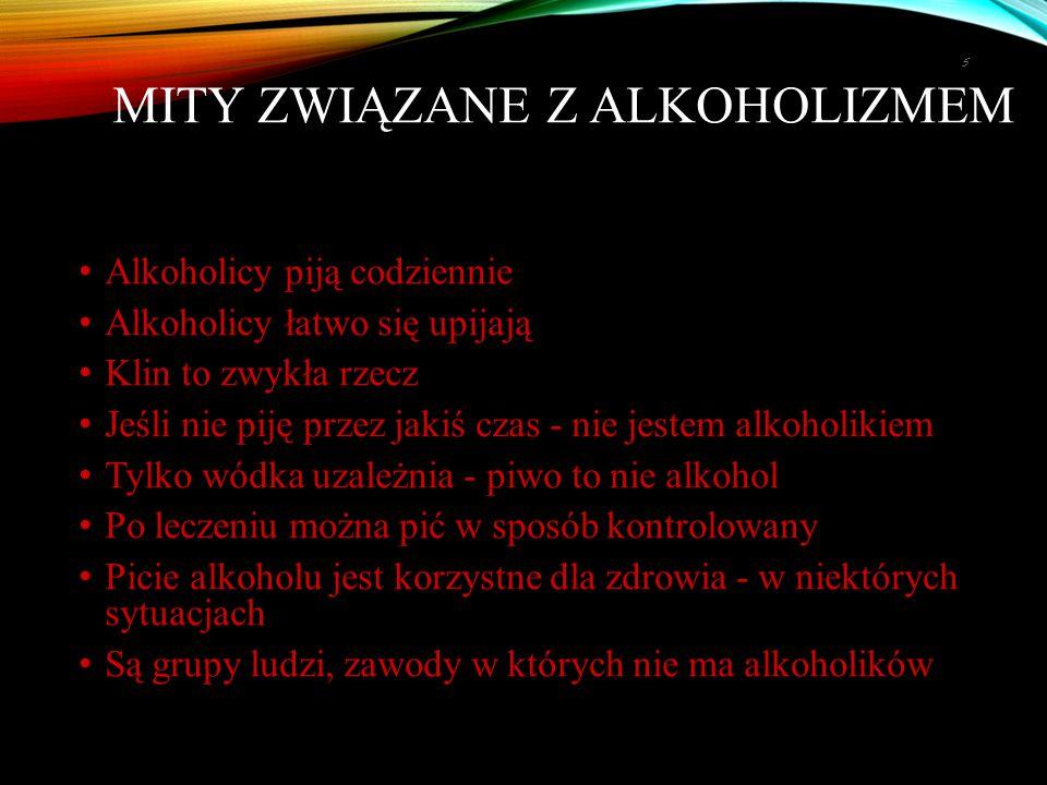 MITY ZWIĄZANE Z ALKOHOLIZMEM Alkoholicy piją codziennie Alkoholicy łatwo się upijają Klin to zwykła rzecz Jeśli nie piję przez jakiś czas - nie jestem alkoholikiem Tylko wódka uzależnia - piwo to nie alkohol Po leczeniu można pić w sposób kontrolowany Picie alkoholu jest korzystne dla zdrowia - w niektórych sytuacjach Są grupy ludzi, zawody w których nie ma alkoholików 5