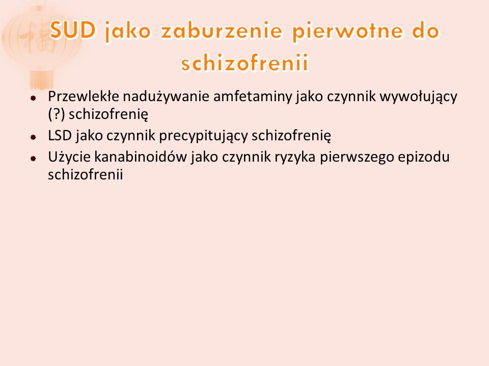  Przewlekłe nadużywanie amfetaminy jako czynnik wywołujący (?) schizofrenię  LSD jako czynnik precypitujący schizofrenię  Użycie kanabinoidów jako czynnik ryzyka pierwszego epizodu schizofrenii