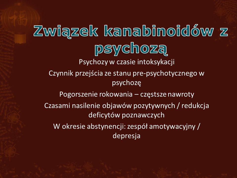 Psychozy w czasie intoksykacji Czynnik przejścia ze stanu pre-psychotycznego w psychozę Pogorszenie rokowania – częstsze nawroty Czasami nasilenie objawów pozytywnych / redukcja deficytów poznawczych W okresie abstynencji: zespół amotywacyjny / depresja